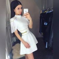 NEW ARRIVAL SEXY TASSEL WOMEN DRESS 2019 Spring Autumn O NECK SEXY Women Clothing Evening Party Celebrity Bandage Dress