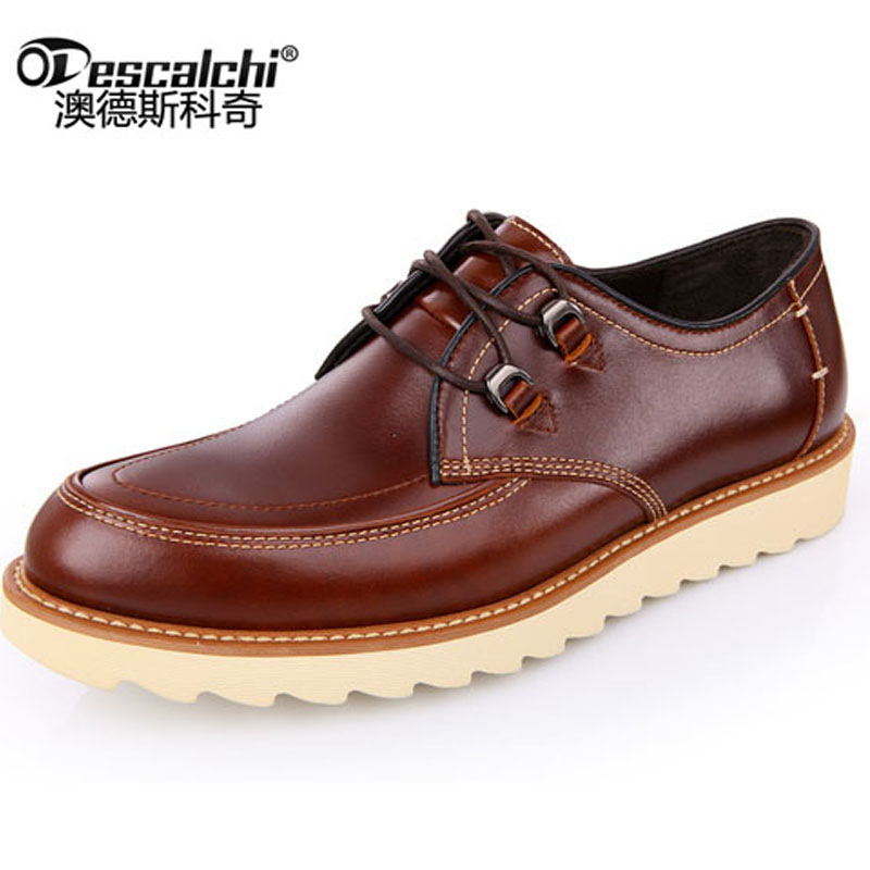 Odescalchi New Men Casual Leather Shoes Slip-On Mens Genuine Leather Tooling Shoes Male Fashion Men Cowhide pl us size 38 47 handmade genuine leather mens shoes casual men loafers fashion breathable driving shoes slip on moccasins