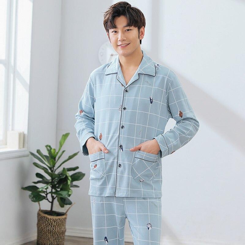 100% Cotton Autumn Pajamas Sets Mens Sexy Plaid Casual Sleepwear For Male Pyjamas Pijama Hombre Mens Cartoon Pajamas L-3XL