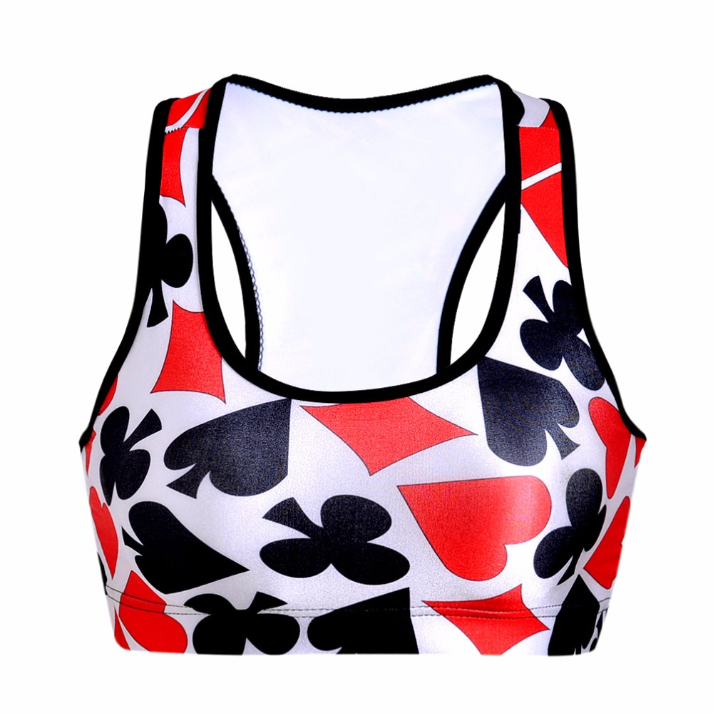 2018 Women Wireless Active Bra Underwear Bra Tank Top Breathable Vest Bra Poker Cards Printed Bra