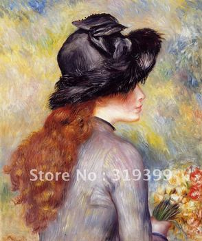 Linen Canvas Oil Painting,Young Girl Holding a Bouquet of Tulips by pierre auguste renoir,Free DHL Shipping,100% handmade