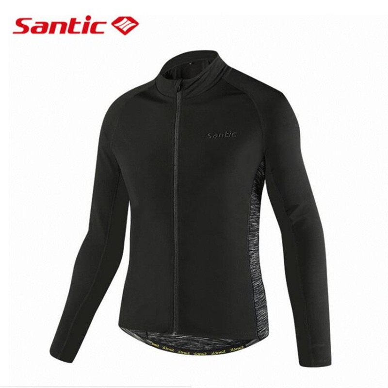 Santic Autumn Winter Cycling Jacket Men Long Sleeve Thermal Fleece Windproof Bicycle Jacket Coat Bike Clothing Sportswear