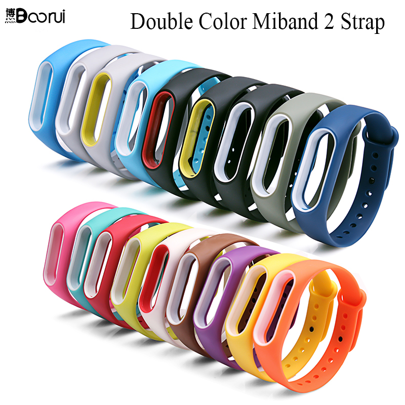 все цены на BOORUI Double color mi band 2 accessories pulseira miband 2 strap replacement silicone wriststrap for xiaomi mi2 smart bracelet  онлайн