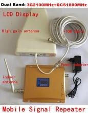 Горячие ЖК-дисплей Дисплей 3g W-CDMA 2100 мГц DCS 1800 мГц Dual Band сотовый телефон усилитель сигнала 1800 2100 UMTS репитер усилитель