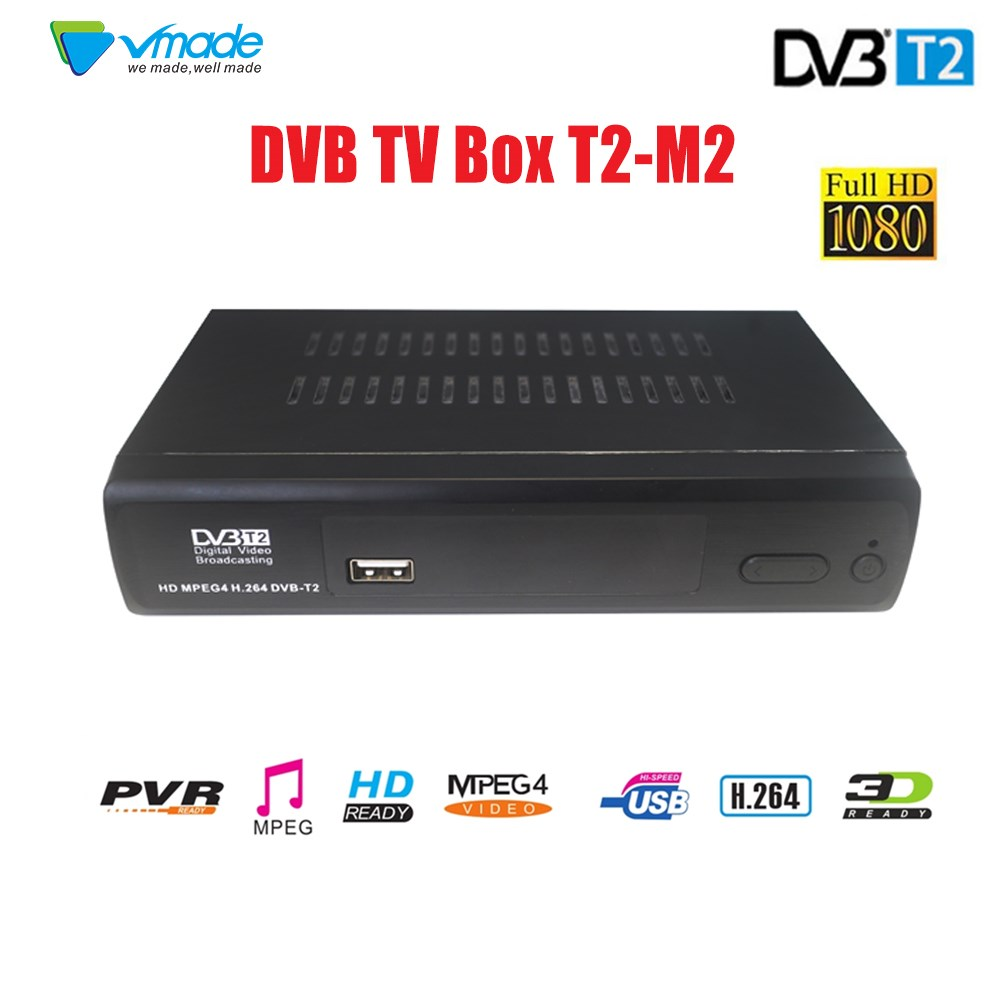 VMADE SET TOP BOX Terrestrial receiver HD Digital DVB T2 M2 TV Tuner Receivable MPEG4 DVB-T2 TV Receiver T2 Tuner Free Shipping vmade newest hd digital terrestrial tv receiver dvb t2 set top box mpeg 2 4 h 265 support ac3 youtube pvr hd 1080p dvb t2 tuner
