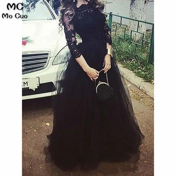 2019 Illusion Evening Dresses 3/4 Sleeves with Appliques Lace Tulle Black Formal Evening Party Dress for Women Custom Made
