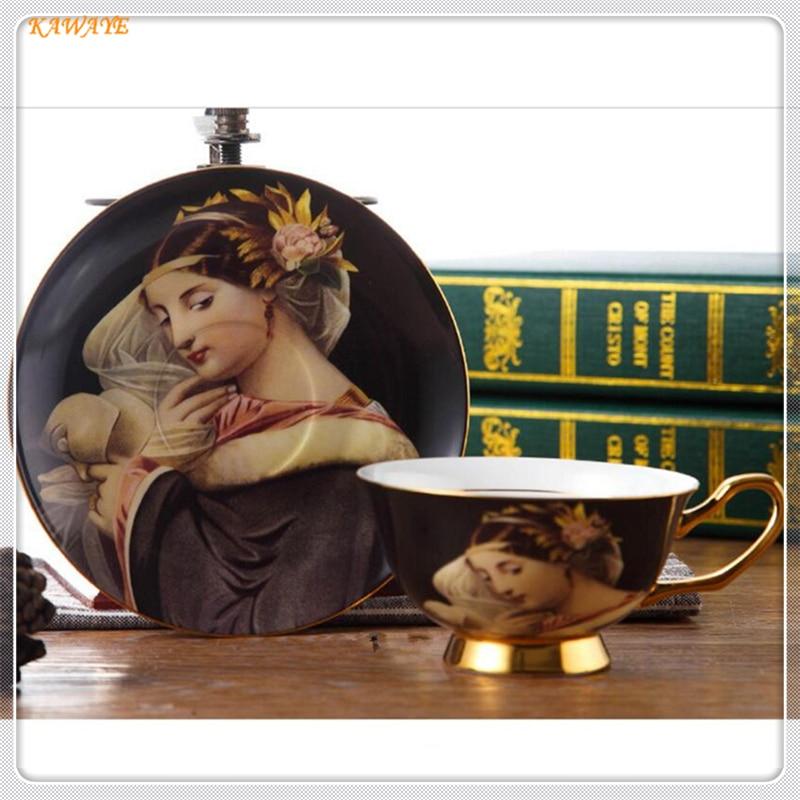 1 pcs High-grade Teacup Teatime Drinkware Saucer Set Porcelain Europe Pastoral Bone China Tea Cup Ceramic Coffee 5ZDZ463