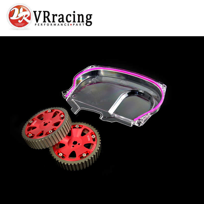 VR RACING - Aluminum Cam Gear + Clear Cam Cover For Mitsubishi Lancer Evolution EVO 9 IX Mivec 4G63 VR6538R+6334