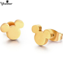 цена на Yiustar Tiny Mouse Earing Cartoon Mickey Stud Earrings for Kids Cute Stainless Steel Earring Cute Animal Ear Stud Christmas Gift