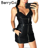 BerryGo Suspenders Pu Leather Autumn Winter Dress Women Vintage Dress Overalls Bandage Mini Sexy Dress Sundress