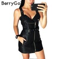 BerryGo Suspenders Pu Leather Autumn Winter Dress Women Vintage Dress Overalls Bandage Mini Sexy Dress Sundress