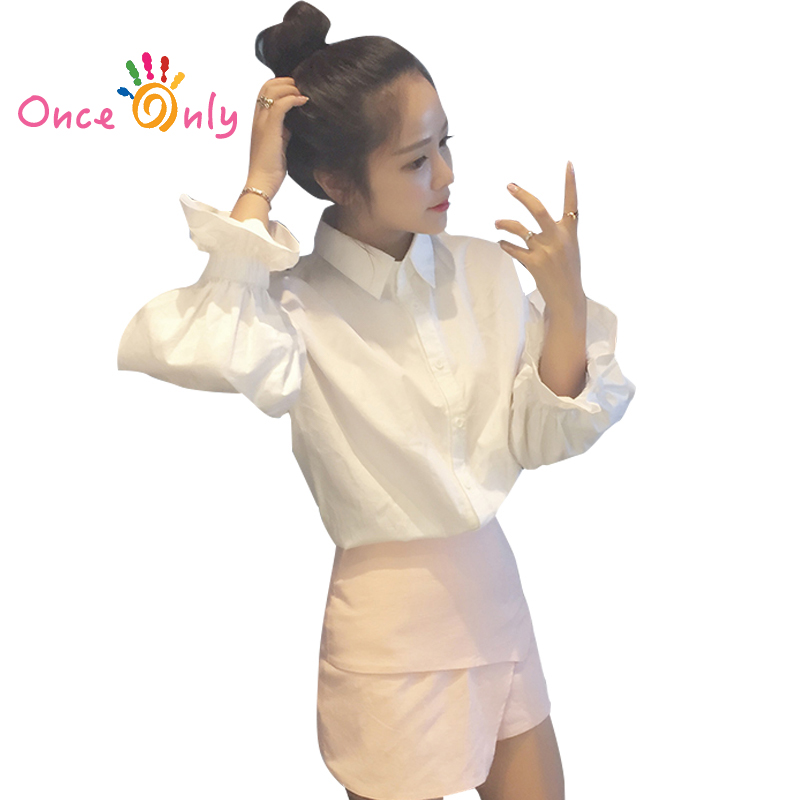 2017 otoño mujeres moda blusas blusa señoras elegante Tops blanco Camisas  Tops ropa femenina Blusas puff camisa de manga 2c6bc939a71
