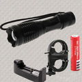 CREE XM-L T6 2000 lm LED  Zoomable Flashlight Tactical Torch 18650 Lamp + Battery Charger +Bicycle flashlight mount holder