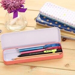 1 Pc Métal Crayon Cas Pour Enfants Garçon Fille Étudiants Couleur De Base Motif Crayon Boîte 202x62x21mm Deli 3007
