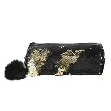 купить School Pencil Case Reversible Sequin Hairball Makeup Bag For Girls Student Stationery Supplies по цене 129.61 рублей