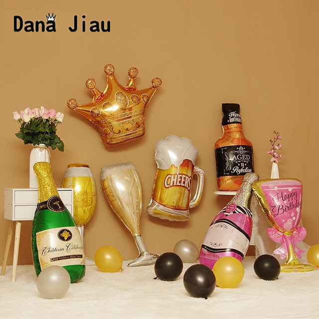champagne wine cup Whiskey Bottle Balloon 30 years old Happy Birthday Party Decor Aged To Perfection gold king crown
