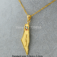 Palestine Map National Flag Pendants Necklaces Chain , Gold Filled Plated Jewelry Plat Country For Women Men Palestinian Gift