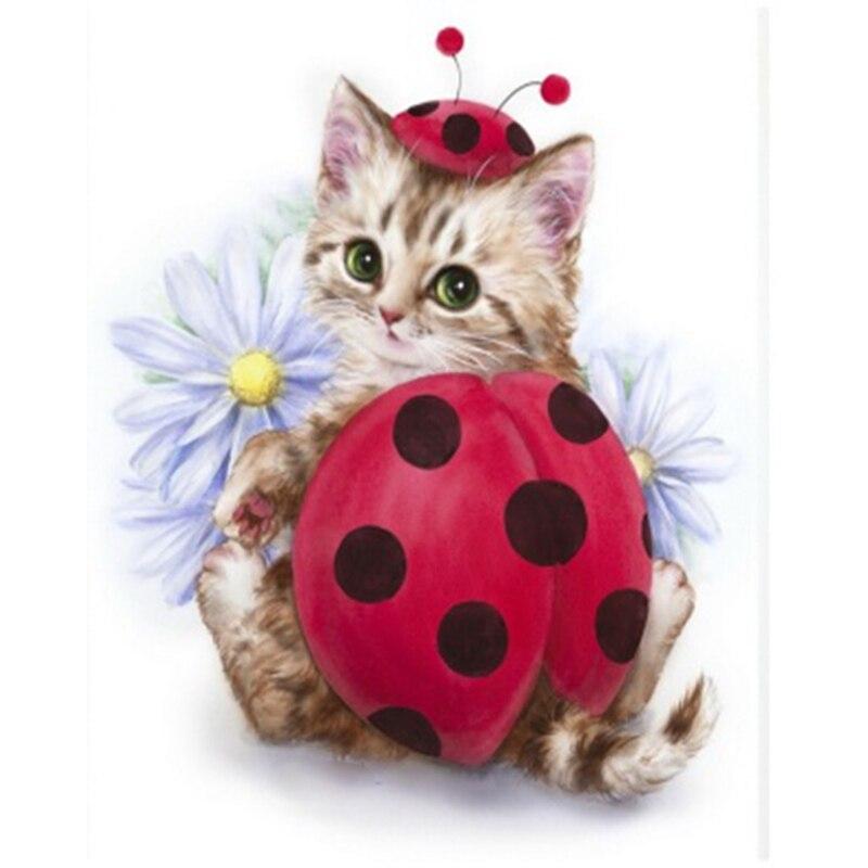 100% 5D pryskyřice Diamond malování Roztomilý kočička Ladybug - Umění, řemesla a šití