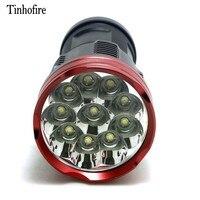 Tinhofire 16000 lumenów 10T6 LED lampy błyskowej 10 x CREE XM L T6 latarka LED latarka latarka w Latarki LED od Lampy i oświetlenie na