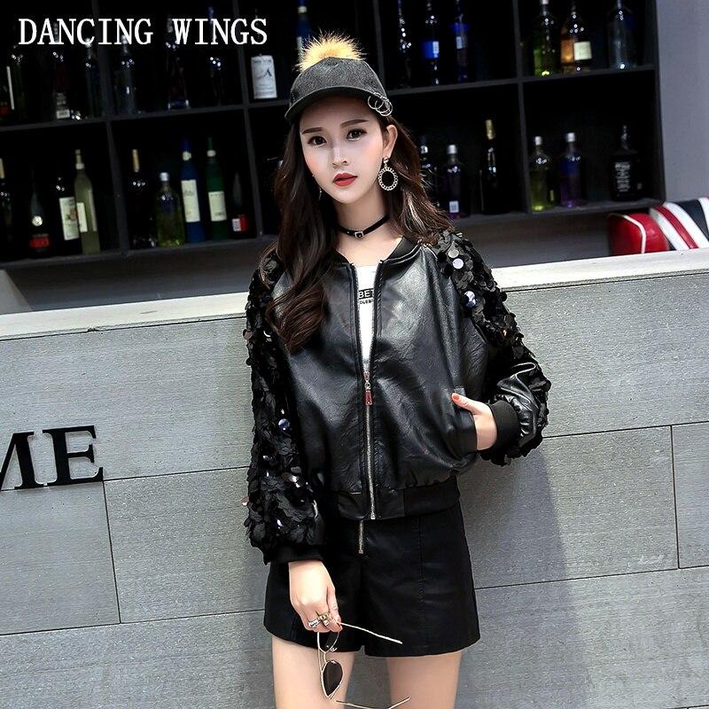 Autumn Women PU   Leather   Jackets long-sleeved splicing lace Sequin loose baseball jacket black short coat