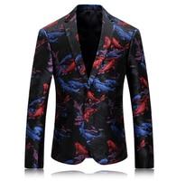 Мужская печатных Блейзер Одежда сцены для певцов цветок пиджак мужской пиджак узор мужские бар, ночной клуб мода плюс Размеры 3xl Свадебные