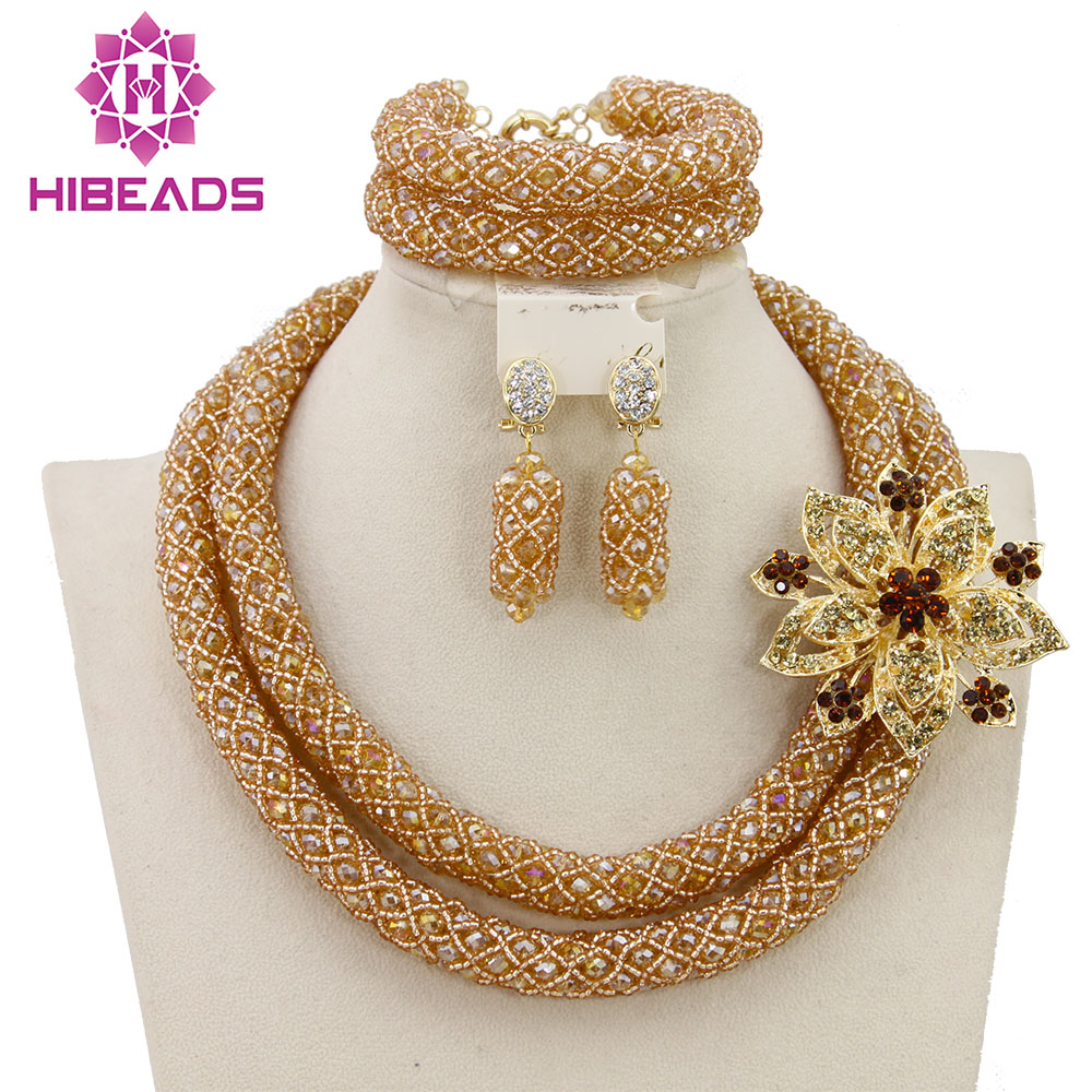 Luxury Dubai Gold Bridal Jewelry Set African Beads Costume Jewelry