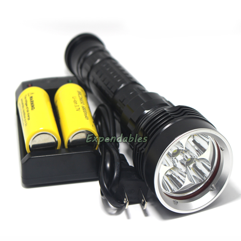 50w 8000LM underwater 100m Led Diving Flashlight 5x XM-L2 LED 3-mode waterproof dive Torch+2x 26650 6800mah Battery+Charger waterproof ultraviolet diving light 3x uv led lamp diving flashlight scuba torch dive lanterna pcb 26650 battery eu charger