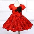 Varejo! novo estilo de flor menina vestido de festa, bordados e padrão de flor rosa menina crianças vestido frete grátis L8096