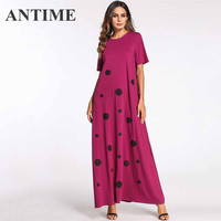 ANTIME O Neck Autumn Pretty Dresses Short Sleeve A Line Floral Elegant Female Casual Fall Nice 4XL Dress for Women Clothing