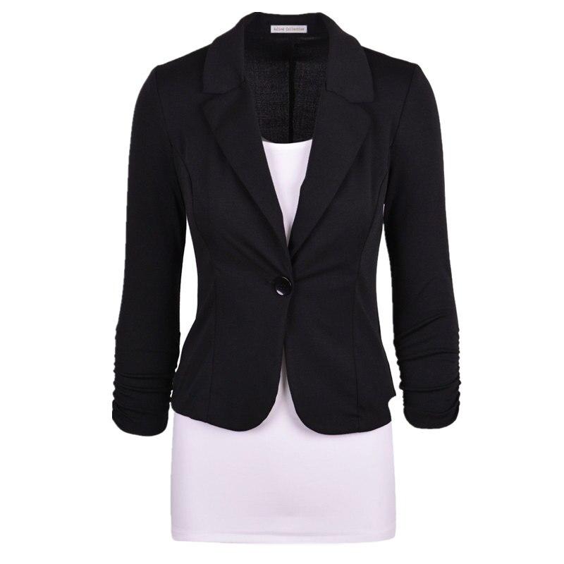 c871cb77657 New Women Blazer Spring Slim Top Elegant Single Button Short Design Big  Size Blazer Suit Female Suit   Women Work Wear MZ1498
