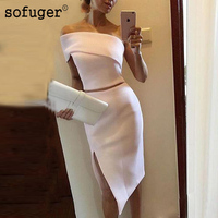 Light Pink Two Pieces Knee Length Cocktail Dresses White Women Formal Party Gowns 2018 Sexy Side Split robe de cocktail