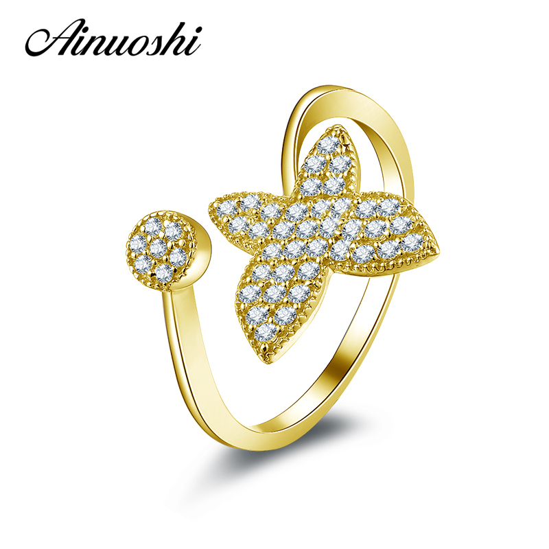AINUOSHI 10K Solid Yellow Gold Wedding Ring Trendy Four Leaf Sona Simulated Diamond Jewelry Fashion Design Women Engagement Ring fair blows the wind
