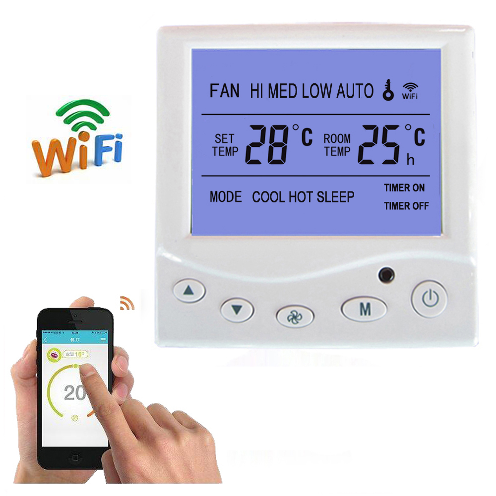 WiFi thermostat central air conditioning fan coil FCU room temperature controller cooling heating 9A smart phone remote control hessway app by smartphone 2p programmable fan valve room thermostat wifi fcu for heating cooling