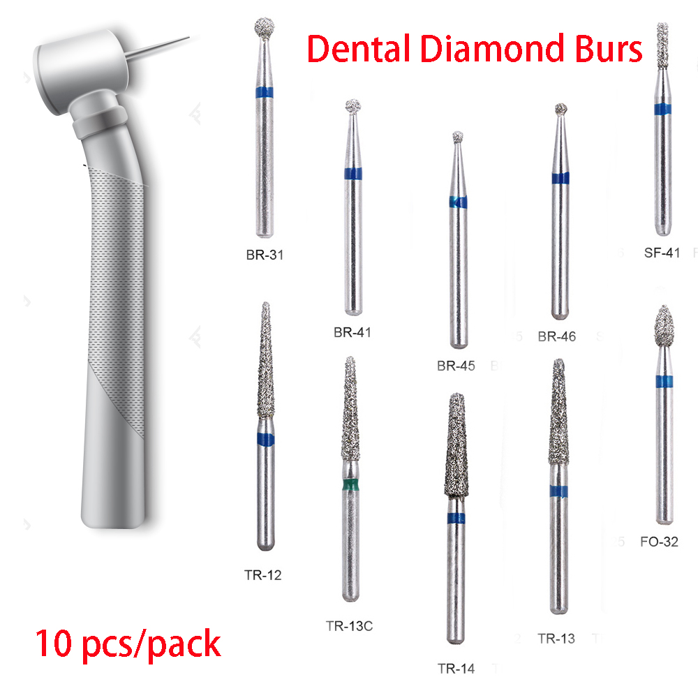 10pcs/pack BR-31 Dental Diamond Burs Drill Dentistry Handpiece Handle Diameter 1.6mm Dentist Tools BR-41 TR-13 FO-32 SF-41