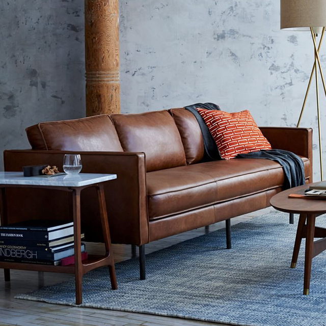 Post-modern light luxury sofa living room combination leather  leather minimalist customizable couch 5