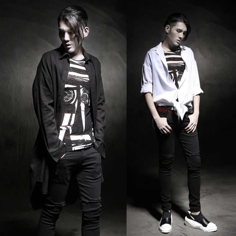 男性日焼けカジュアルカーディガンシャツ盗品綿リネン男性シャツ男性長袖夏スタイルパンクシャツ