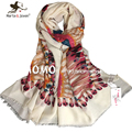 Fashion Women Long Cotton Scarf Oversized Peacock Feather White Scarves Ladies Autumn Winter Neck Scarfs Outdoor Casual Shawls