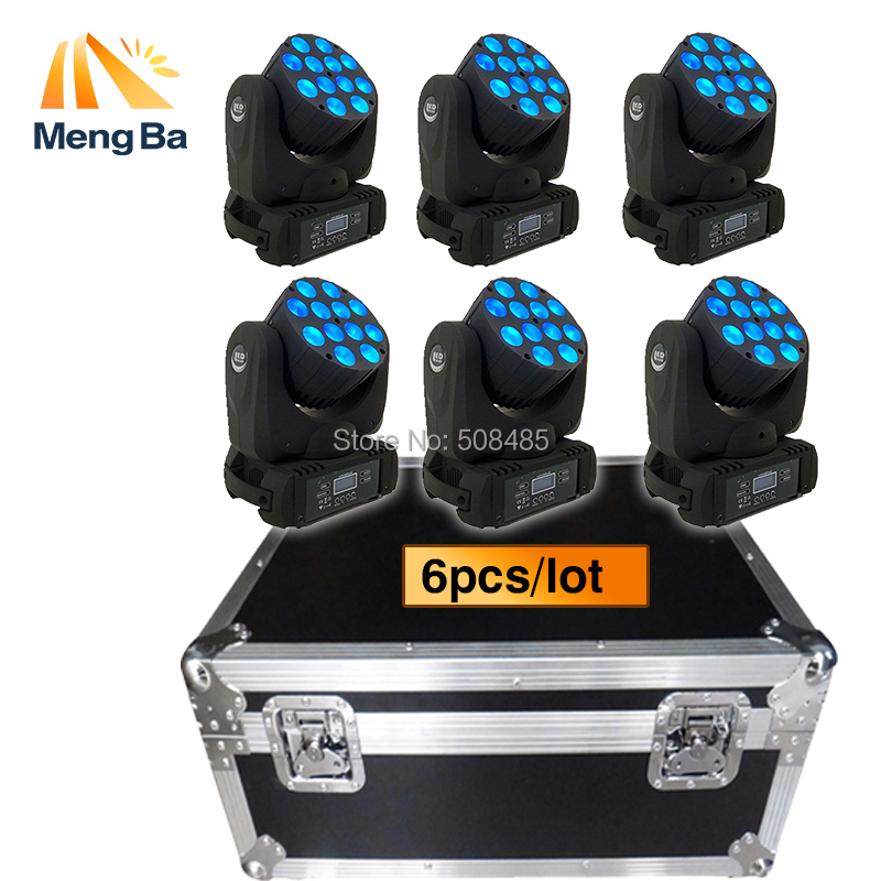 Flight Case With 6pcs 12x12W RGBW 4in1 LED Moving Head Beam LED DJ disco wedding christmas decorations for home stage light volta flight case for 2 pcs of la 208 top