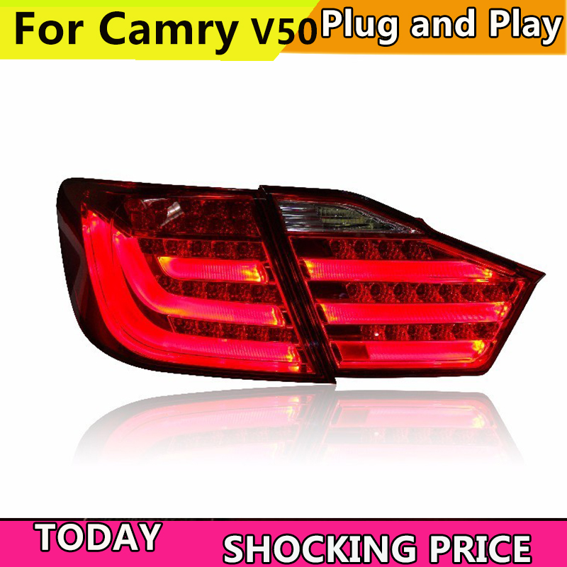 все цены на Car Styling for Toyota Camry Taillights 2012 2013 2014 Camry V50 LED Tail Light Aurion Rear Lamp DRL+Brake+Park+Signal