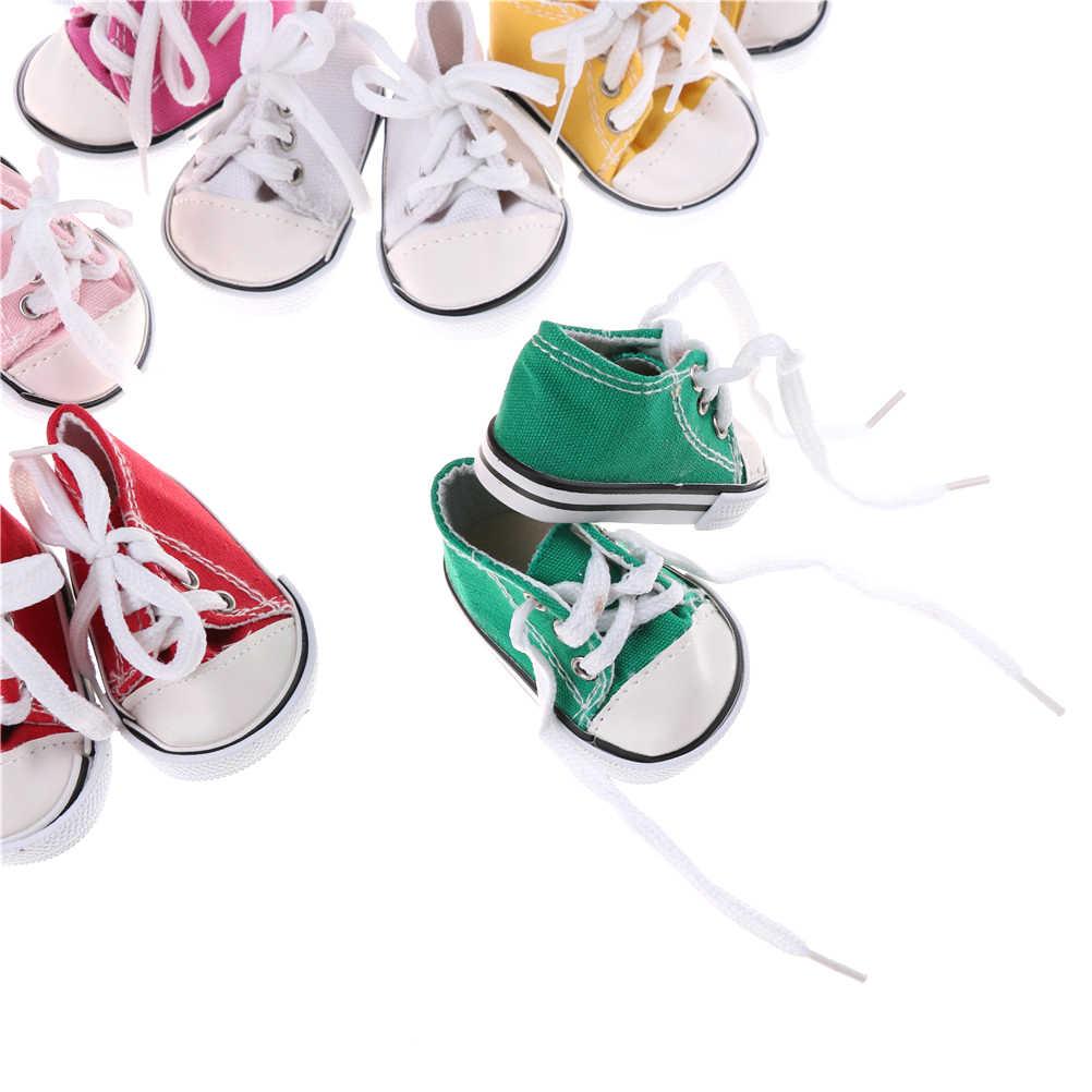 1 זוג תחרה עד בד סניקרס גומי מגפיים חיצוני ספורט נעלי 18 ''ילדה בובת להעמיד פנים צעצוע מתנה עבור ילדים 9 צבעים