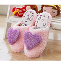 Free shipping 2017 hot lovely male and female heart shape home sandals house indoor flooring non slip plush cotton slippers