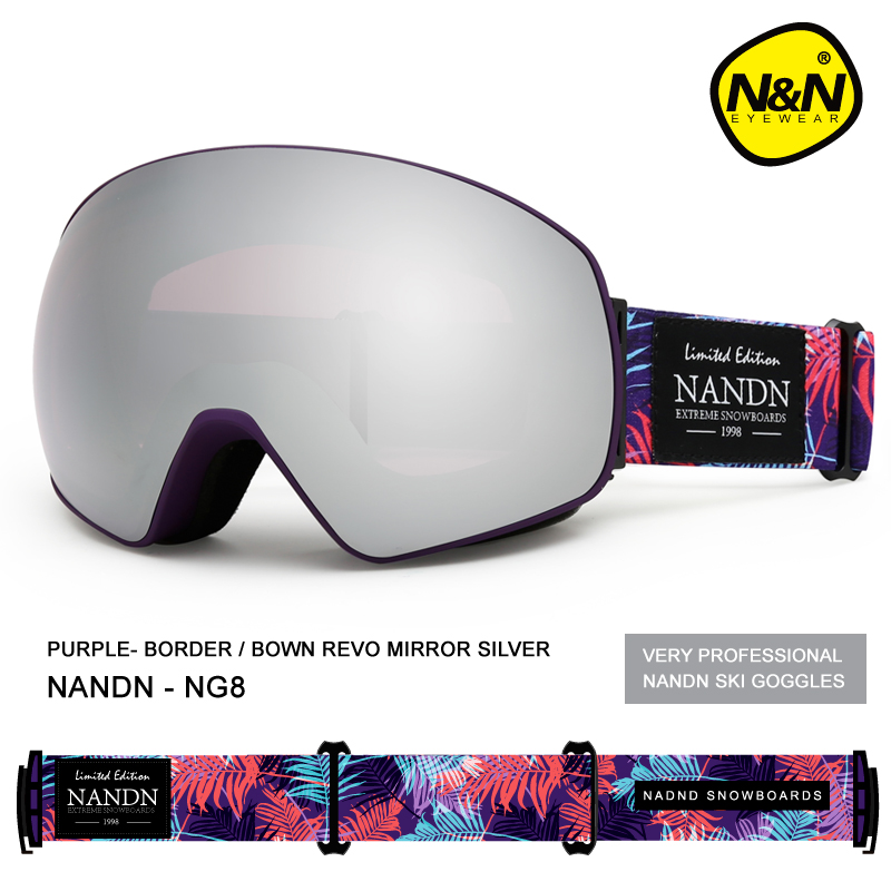 NANDN Ski Lunettes Double Couche UV 400 Anti-Brouillard Masque de Ski Lunettes Hommes Femmes Ski Neige Snowboard Lunettes Multifonction lunettes