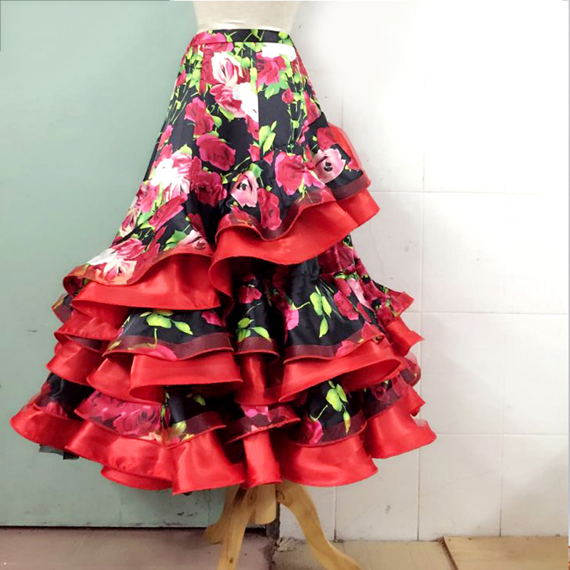 Ballroom Dance Skirts Women Lady Printing Flamenco Skirt Modern Dance Clothing Ballroom Dance Practice Wear Customization DN1370