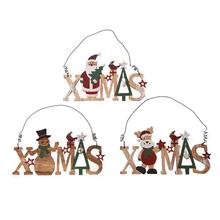 Innovative Christmas Letter Shape Doorplate Hollow Door Hanging Pendant Ornaments Wooden Style Decorations