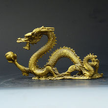 China Old Antique Brass Hand-carved Statue --- Dragon