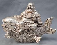 China Silver Bronze Happy Maitreya Buddha Monk Ride Fish Statue