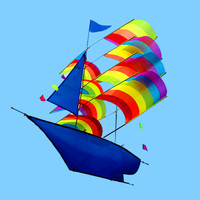 66 * 96cm 3D Sailboat Kite for Kids adults Sailing Boat Flying Kite with String and Handle Outdoor Beach Park Sports Fun