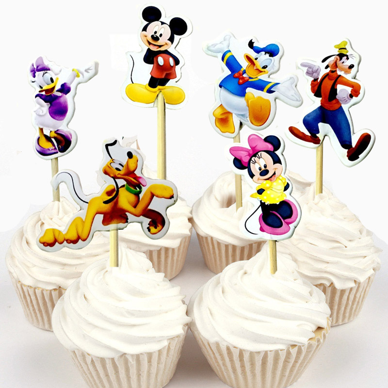 Astounding 24Pcs 48Ps Cute Mickey Minnie Mouse Donald Daisy Duck Cupcake Personalised Birthday Cards Paralily Jamesorg