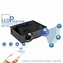 Unic uc46 mini portable hd 1080 p de vídeo de cine en casa proyector soporte miracast dlna airplay inalámbrico smartphone uni-link wifi nuevo