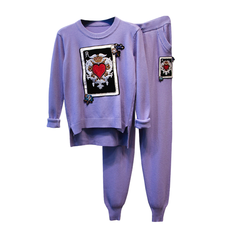 Amolapha Women Embroidery Pattern Knitted Irregular Sweater Tops Pants Two pieces Sets Knit Trousers Suits